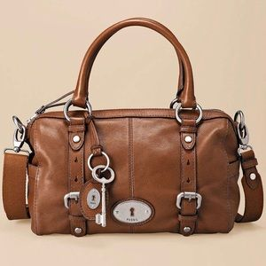 Fossil brown Maddox leather satchel